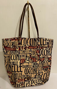 Coccinelle Monogrammed Canvas Tote Shoulder Bag With Leather Handles