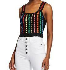 Alice + Olivia Lorri Crochet Linen Blend Sweater Tank Top Medium NWT $295