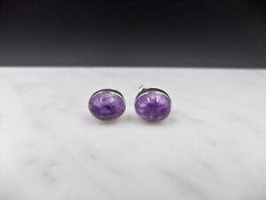 Purple Charoite, Sterling Silver, Stud Earrings