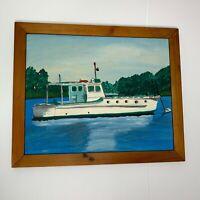 Nautical Painting Lu Gilson 1963 Work Vessel Firecracker Massachusetts Fishing