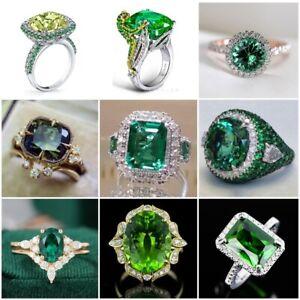 Elegant Women Jewelry Emerald 925 Silver Ring Wedding Engagement Rings Size 6-10