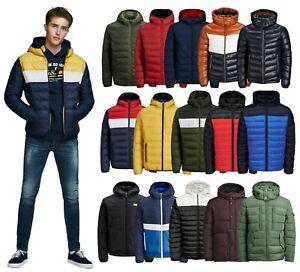 Mens Puffer Jacket Jack Jones Hooded Casual Long Sleeve Lightweight Coat Outwear