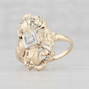 Vintage Diamond Solitaire Ring 14k Yellow Gold Size 5 Statement