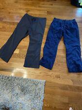 Two Pairs Of Ladies Large Scrub Pants Gray & Navy