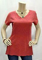 Lucy Medium Coral Purple V Neck Short Sleeve Top Shirt Tee Cotton