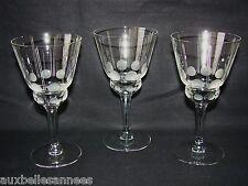 ANCIEN VERRE A PIED x 3 ART DECO / EAU VIN RAISIN VIGNE ALCOOL BOISSON OLD GLASS