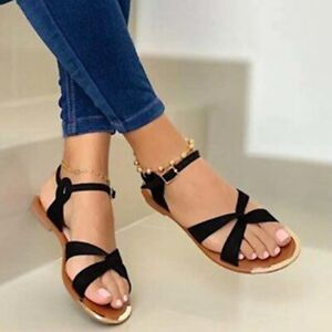 Summer Womens Flat Sandals Casual Open Toe Beach Gladiator Cross Strappy Shoes