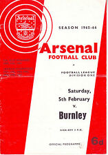 ARSENAL V BURNLEY 5 FEB 1966 OVER 50 YEARS AGO VGC