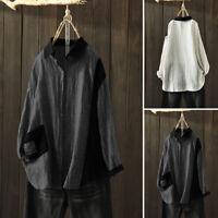 ZANZEA Femme Chemise Shirt Loisir Ample Couture Revers Manche Longue Confor Plus