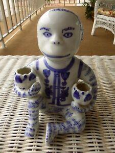 Asian Chinese chinoiserie porcelain monkey Rain God W/ pots candleholder statue