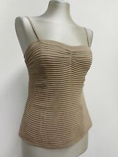 top by Temperley pale brown silk cami pleated with spaghetti straps 38 UK10 US6