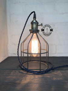 Caston ~ Brass Cage Bedside Lamp   Black Fabric Cable   Bedroom   Vitnage