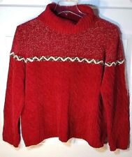 L. CLAIBORNE RED UGLY XMAS OVERSZED TURTLENECK SWEATER W/HOLLY TRIM DETAIL SZ XL