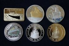 6 PC RMS TITANIC NOVELTY GOLD SILVER BAR AND COINS FULL SET NEW NEVER FORGET UK