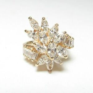 Estate 14K Yellow Gold Baguette and Marquise Cut Diamond Cluster Ring 1.75 Cts