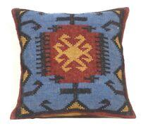 4 Set of Vintage Kilim Pillow 18x18 Hand Woven Jute Rug Rustic Pillows 1046-DD
