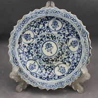 Republic of China Blue and white porcelain Manual drawing *Branch/shou* plate