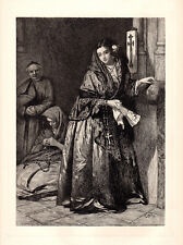 """Nice JOHN PHILLIP 1800s Etching """"Spanish Girl with Holy Water"""" Framed Signed COA"""