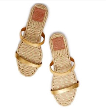 TORY BURCH TWO BAND FLAT ESPADRILLE SLIDE SANDAL GOLD WOMEN'S SIZE 11 NEW