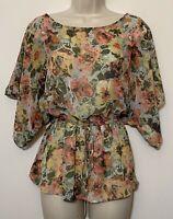 Bobeau Small Blouse Green & Pink Floral Kimono Sleeve Elastic Waist Peplum Top