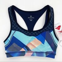 Athleta Women's Electric Geo Triple Dare Sports Bra Cutout Athletic XXS Blue NWT