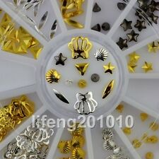 Beauty 3D Metal Nail Art Decoration Supplies Gold Silver Shell Conch Cone Wheel