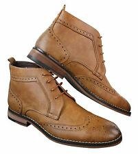 Mens Slip On & Laced Tan Brown Military Brouge Boots Smart Casual Leather Lined