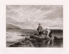 """Outstanding WILLIAM COLLINS 1800s Detailed Antique Etching """"Prawn Fishing"""" COA"""