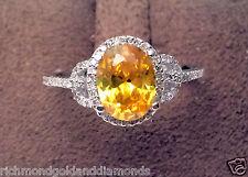 White Gold Oval Halo Vintage Citrine Diamonds Engagement Wedding Fashion Ring