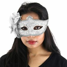 Silver Deluxe Fancy Dress Masquerade Lace Mask with Sequins & Flowers - Aletta