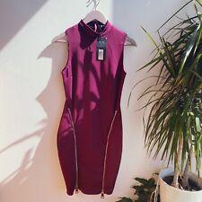 AX Paris @ ASOS burgundy High Neck Zip Bodycon Dress Size 10