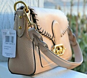 NWT Coach Leather Jade Whipstitch Crossbody Shoulder Taupe $398 91025
