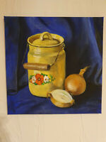 Gemälde selbstgemaltes Bild russische Milchkanne mit Zwiebeln 40x40