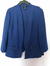Alfani Blue Crop Knit Jacket Size 2X Cotton Trim Women's NWT