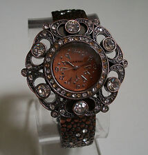 Designer style rose gold  finish elegant fashion rhinestone bangle women's watch