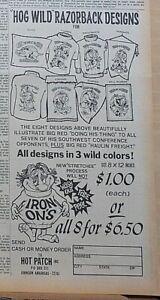 1969 newspaper ad for University of Arkansas Razorback designs - Go Hog Wild