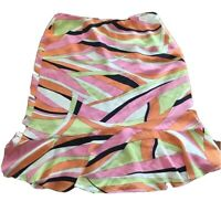 Talbots Pure Silk Skirt Green Pink Orange black Cream Size 8 0245