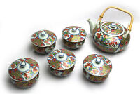 Vintage JAPANESE SIGNED TEA POT & COVERED CUPS SET 6PCS