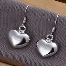 Silver Plated Pair Of Chunky Heart Hook Earrings.14mm/14mm.925 Sterling