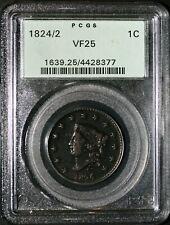 1824/2 Large Cent PCGS F25 OGH