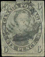 1855 Used Canada 6d F+ Scott #5 HRH Prince Albert Pence Issue Stamp