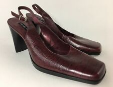 Nine West Size 8 M Burgundy High Heel Slingback Mule Pumps Square Toe Foxworth