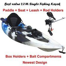 2.7M Fishing Kayak 5 Rod Holders Seat Paddle 25lbs Motor Bracket Blue Camo
