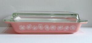 Vintage JAJ Pyrex Pink Daisy Rectangle Gaiety Shallow Space Saver Casserole Dish