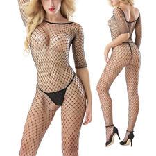 Women Sexy Full Body Fishnet Bodysuit Open Crotch Lingerie Long Sleeve Pantyhose