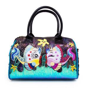 Irregular Choice Bag Rockpool Black Blue Fish Handbag
