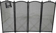 Folding Black Fireguard Firescreen Fireplace Safety Fire Guard Screen Mesh