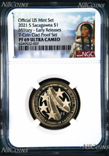 2021 S Proof Native American U.S. Military since 1775 NGC PF 69 $1 coin ER