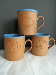 3 Terra-Cotta COW DUCK CHICKEN Glazed Blue-in Coffee Mug CUP Farm Country Animal