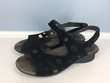 MEPHISTO black leather 6 36 sandals perforated walking wedge EUC Career Casual